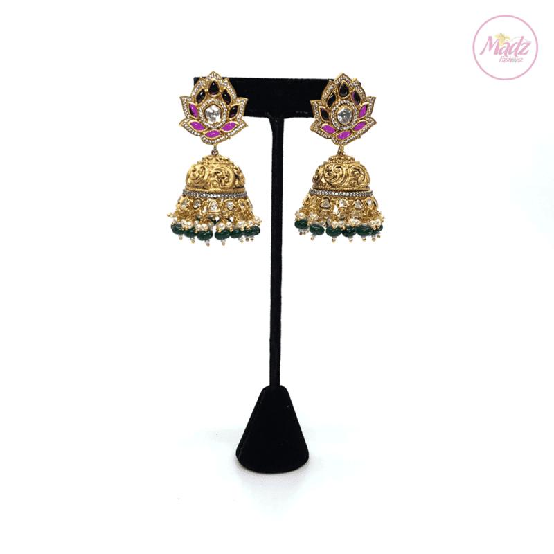 Madz Fashionz UK Exquisite Madihah Jhumka Pink Green Earrings Indian Jewellery Pakistani Jewellery