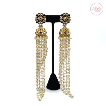 Madz Fashionz UK Nadiya Pearled Kundan Jhumkas Black Earrings Indian Jewellery Pakistani Jewellery