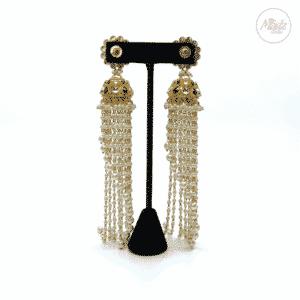 Madz Fashionz UK Nadiya Pearled Kundan Jhumkas Black Earrings Indian Jewellery Pakistani Jewellery 2