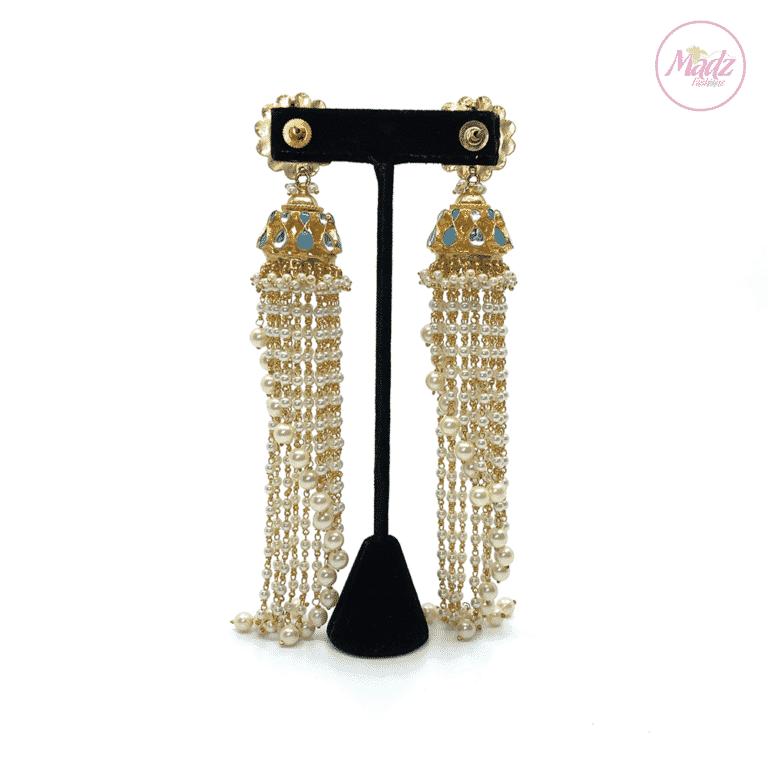 Madz Fashionz UK Nadiya Pearled Kundan Jhumkas Sky Blue Earrings Indian Jewellery Pakistani Jewellery 2