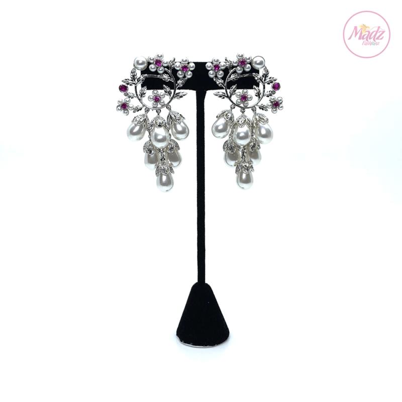 Madz Fashionz UK Leela Pearled Earrings Pink Indian Jewellery Kundan Big Jhumkas Bali