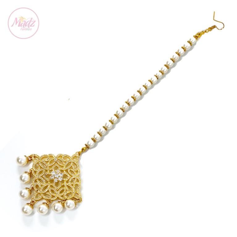 Madz Fashionz UK: Hayat Zircon Hair Headpiece Headchain Maang Tikka Gold