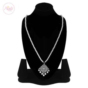 Madz Fashionz UK: Hayat Zircon Silver Pearl Long Bridal Necklace Mala 2