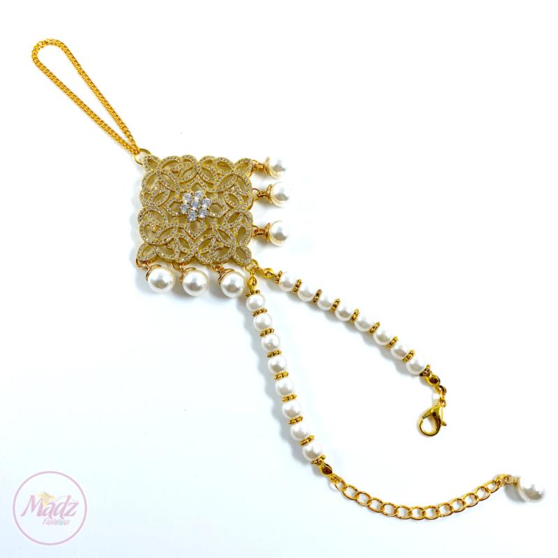 Madz Fashionz UK: Henna4u_Leicester Bridal Hand chain Slave Bracelet Kundan Gold 1