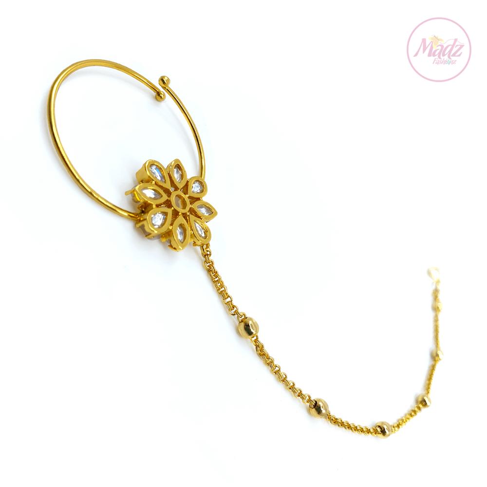 White nose chain , Wedding nostrils ring chain , bridal nose ring – Laiba – MadZFashionZ UK