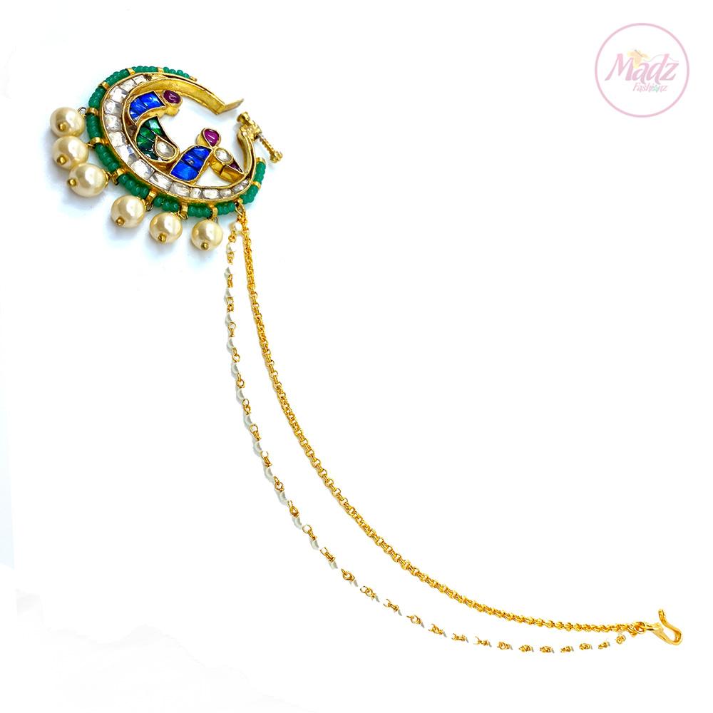 Jawaria Kundan Gold Multii-Colour Nath Nose Ring – Madz Fashionz