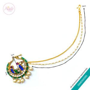 Jawaria Kundan Gold Multii-Colour Nath Nose Ring Sizes - Madz Fashionz