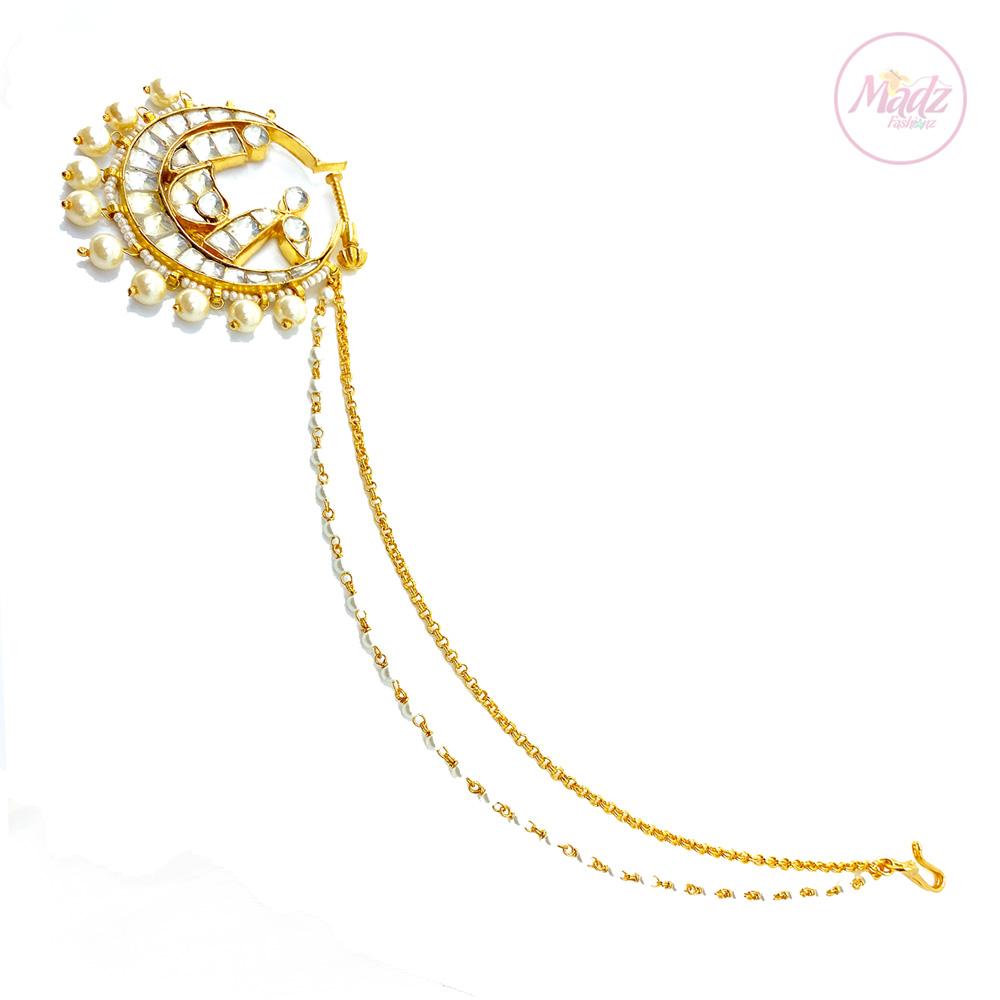 Jawaria Kundan Gold Pearl White Nath Nose Ring – Madz Fashionz