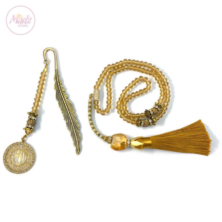 Champagne Gold Tasbeeh 99 Beads , Islamic Gifts Set - MadZFashionZ UK