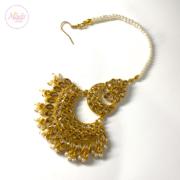 Gold hair tikka , Hanfa Maang Tikka , Bridal Maang tika , Ethnic Headwear , Bridal Wedding Indian hair Accessory , Forehead Headgear , Gold Headpiece eid jewels