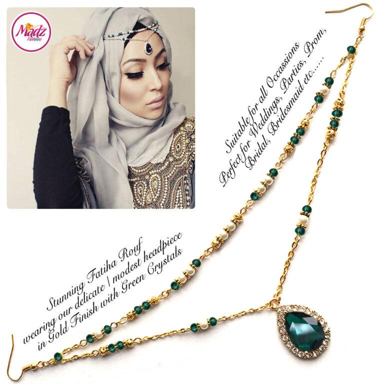 Madz Fashionz USA - Fatiha World Tear Drop Headpiece Gold and Green Crystals