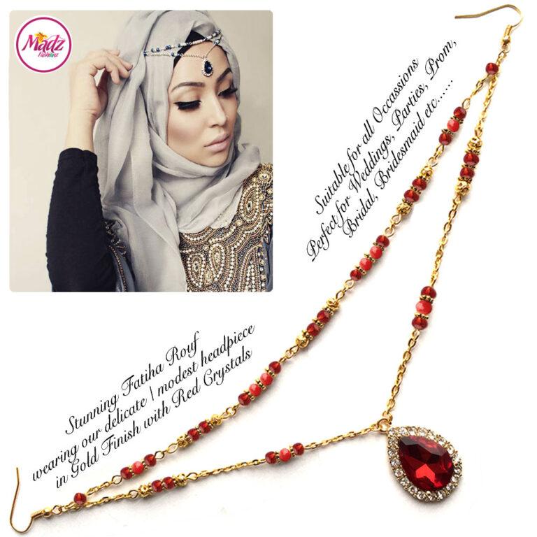 Madz Fashionz USA - Fatiha World Tear Drop Headpiece Gold and Red Crystals