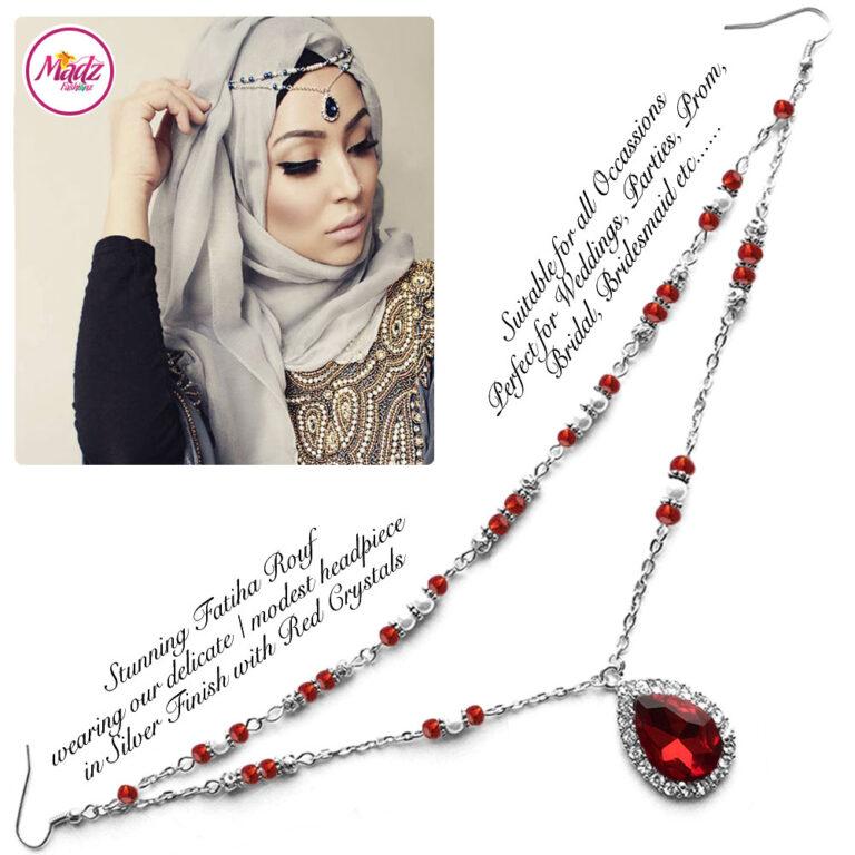 Madz Fashionz USA - Fatiha World Tear Drop Headpiece Silver and Red Crystals