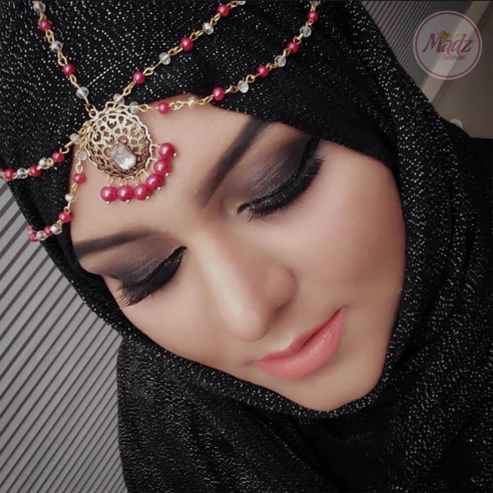 Antique Gold Red Head Piece , Bridal Hair Jewelry , Madiha prom hair accessories , wedding jewelry , matha patti , Hijab tikka