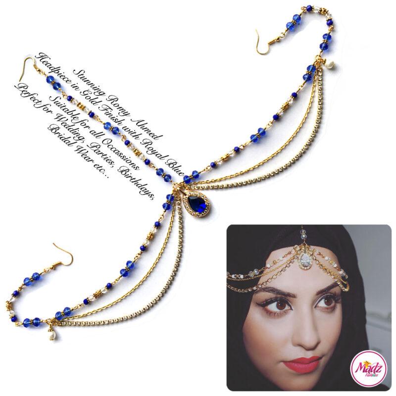 Madz Fashionz USA romy_ahmed Bridal Matha Patti Headpiece Gold and Royal Blue