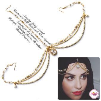 Madz Fashionz USA romy_ahmed Bridal Matha Patti Headpiece Gold and White