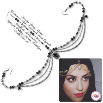 Madz Fashionz USA romy_ahmed Bridal Matha Patti Headpiece Silver and Black