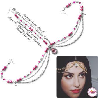 Madz Fashionz USA romy_ahmed Bridal Matha Patti Headpiece Silver and Light Pink