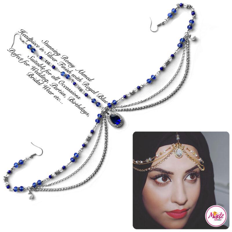 Madz Fashionz USA romy_ahmed Bridal Matha Patti Headpiece Silver and Royal Blue