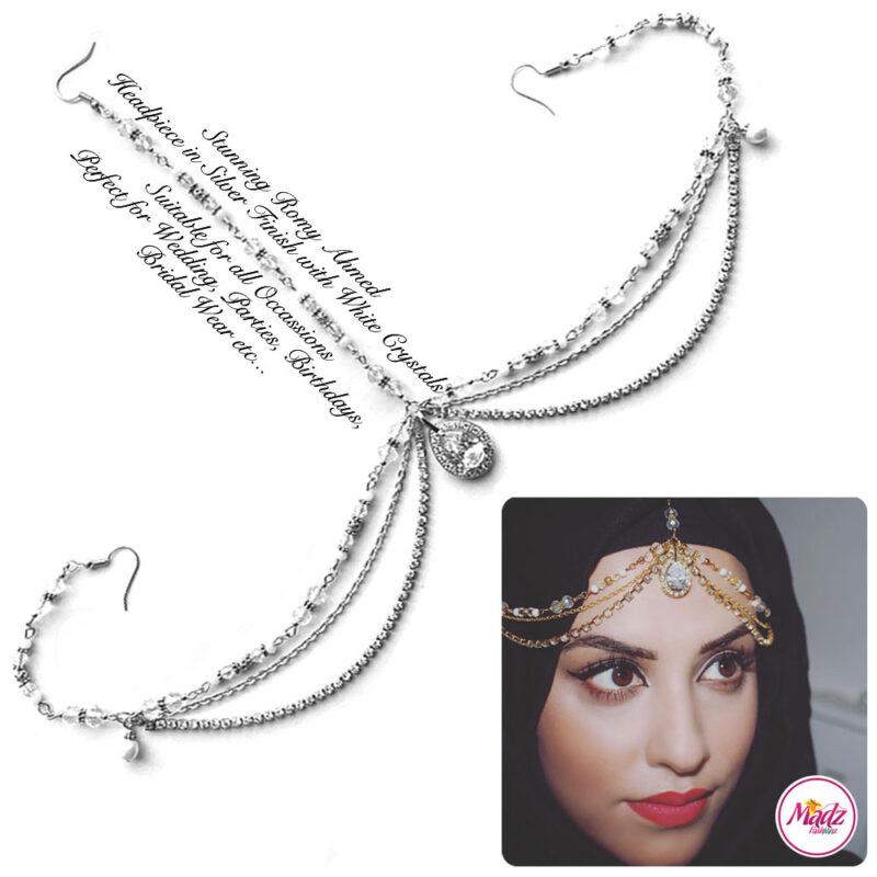 Madz Fashionz USA romy_ahmed Bridal Matha Patti Headpiece Silver and White