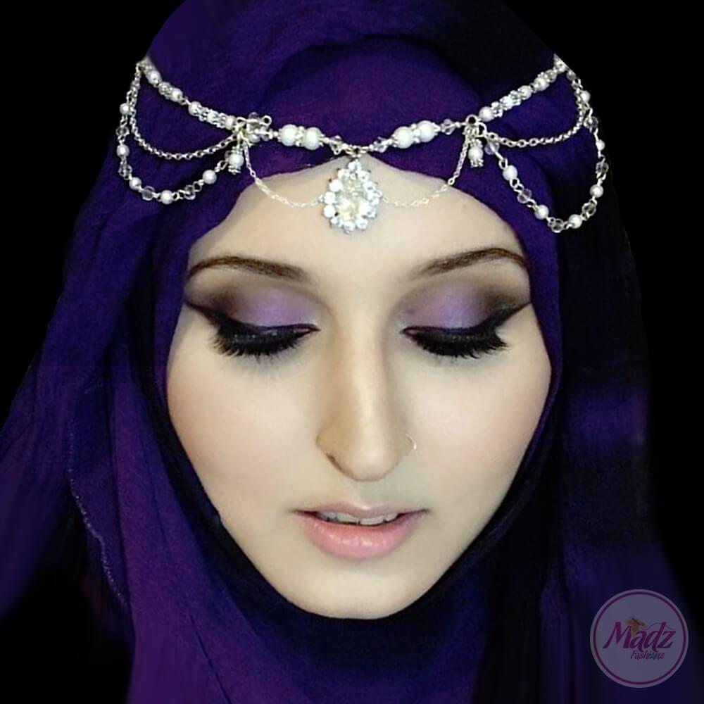 silver matha patti, indian hair jewelry , forehead jewelry , hijab jewels , Prom hair accessories , modest head wear , huda beauty headpiece