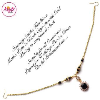 Madz Fashionz USA: Sahiba Crystal Headpiece Matha Patti Maang Tikka Gold Black