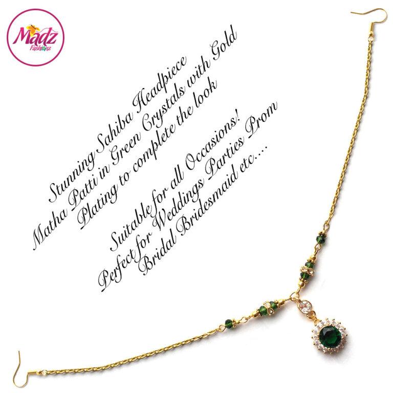 Madz Fashionz USA: Sahiba Crystal Headpiece Matha Patti Maang Tikka Gold Green