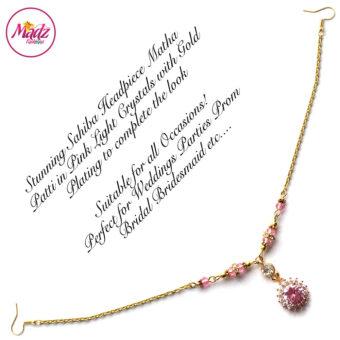 Madz Fashionz USA: Sahiba Crystal Headpiece Matha Patti Maang Tikka Gold Light Pink