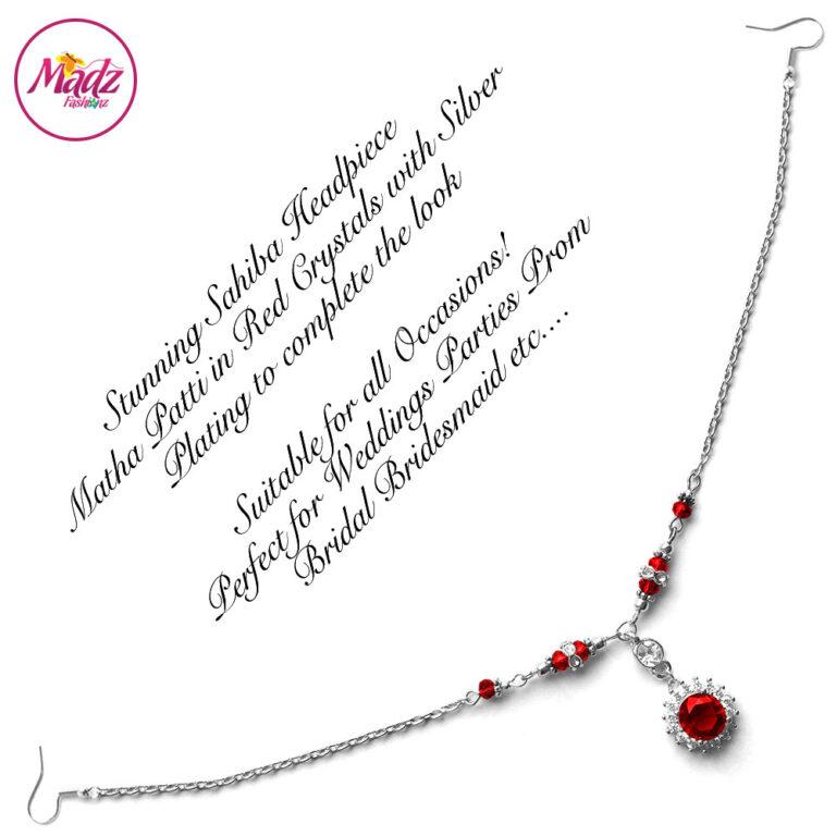 Madz Fashionz USA: Sahiba Crystal Headpiece Matha Patti Maang Tikka Silver Red