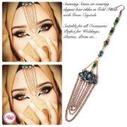 Madz Fashionz USA: Sania.XO Crystallised Maang Tikka Gold Green