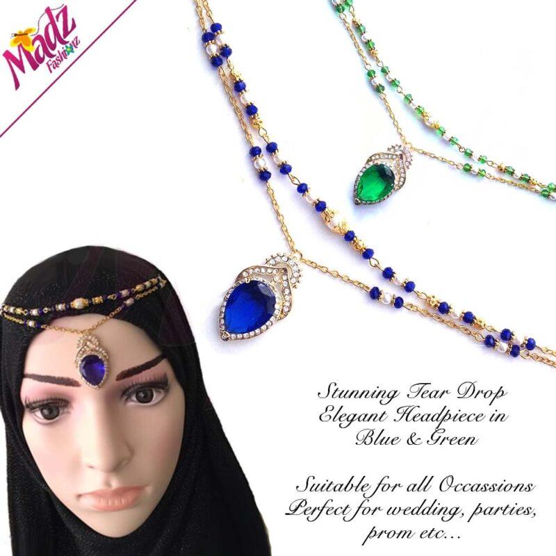 Kundan Elegant Tear Drop HeadPiece Tikka Matha Patti Maang Tikka Gold Green Blue Hatpins Dangle Hijab Pin, Gold Plated Shawl Pin, Scarf Pin, Lapel pin