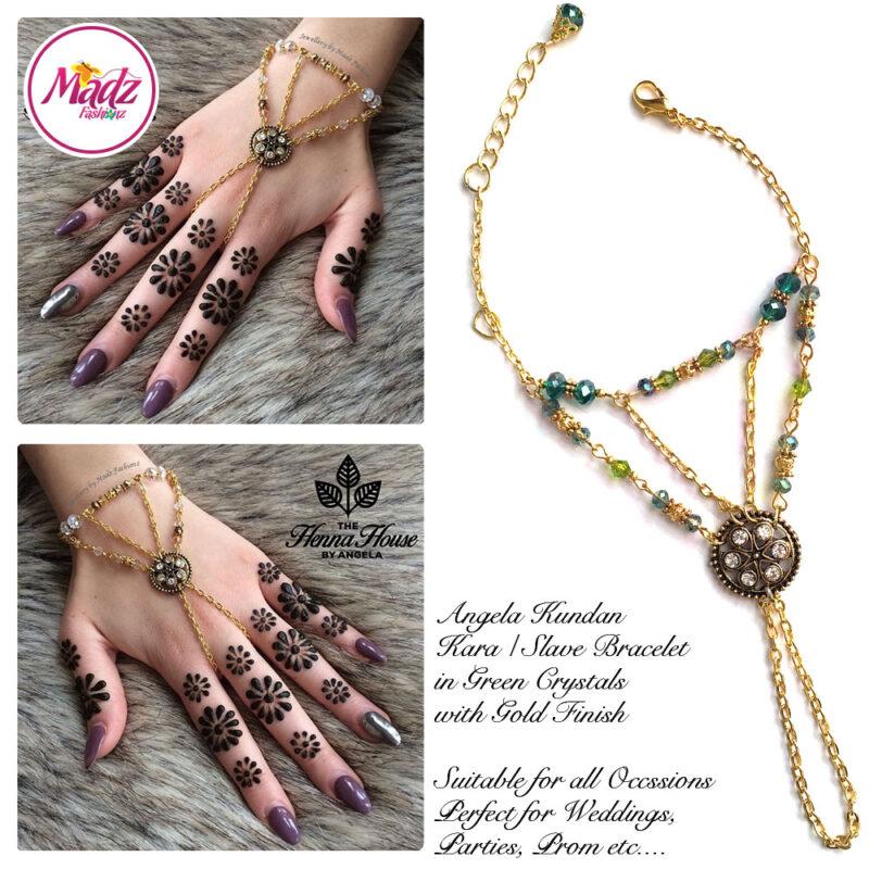Madz Fashionz USA: Hennabyang Kundan Bridal Hand Chain, Bracelet Green Gold Stones