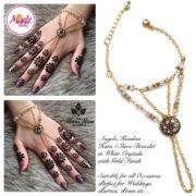 Madz Fashionz USA: Hennabyang Kundan Bridal Hand Chain, Bracelet White Gold Stones