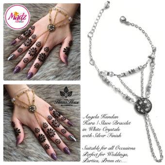 Madz Fashionz USA: Hennabyang Kundan Bridal Hand Chain, Bracelet White Silver Stones