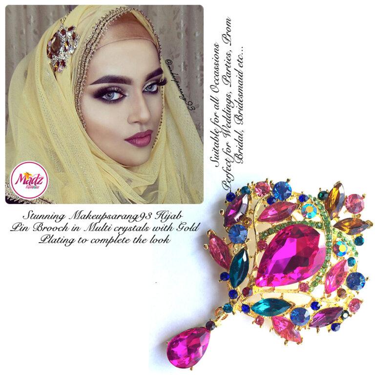Madz Fashionz USA: Makeupsarang93 Elegant Brooch Hijab Pin Gold Multicolour