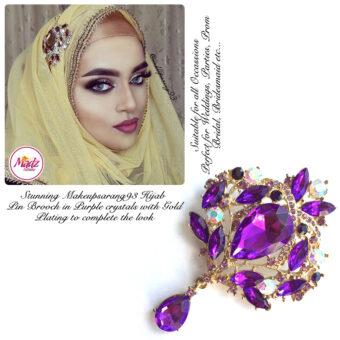 Madz Fashionz USA: Makeupsarang93 Elegant Brooch Hijab Pin Gold Violet