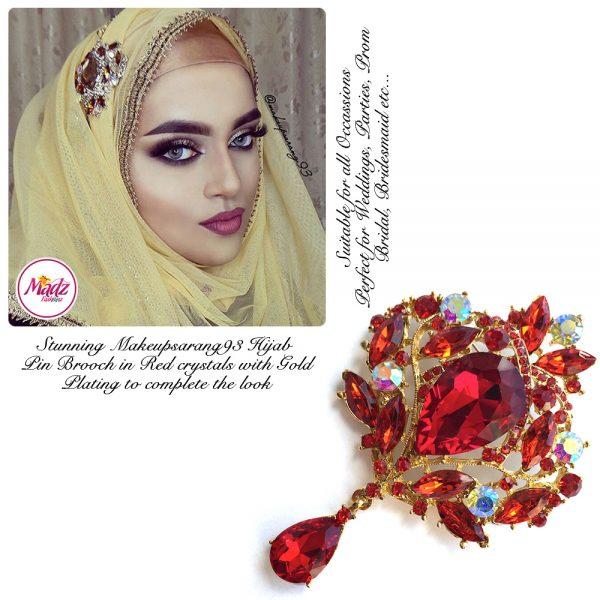 Madz Fashionz USA: Makeupsarang93 Elegant Brooch Hijab Pin Gold Red