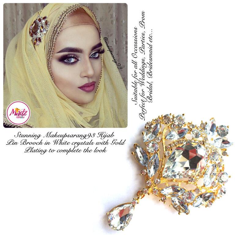 Madz Fashionz USA: Makeupsarang93 Elegant Brooch Hijab Pin Gold White