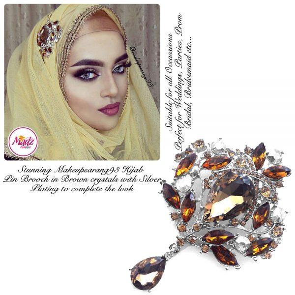 Madz Fashionz USA: Makeupsarang93 Elegant Brooch Hijab Pin Silver Brown