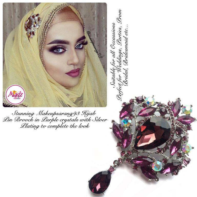 Madz Fashionz USA: Makeupsarang93 Elegant Brooch Hijab Pin Silver Purple