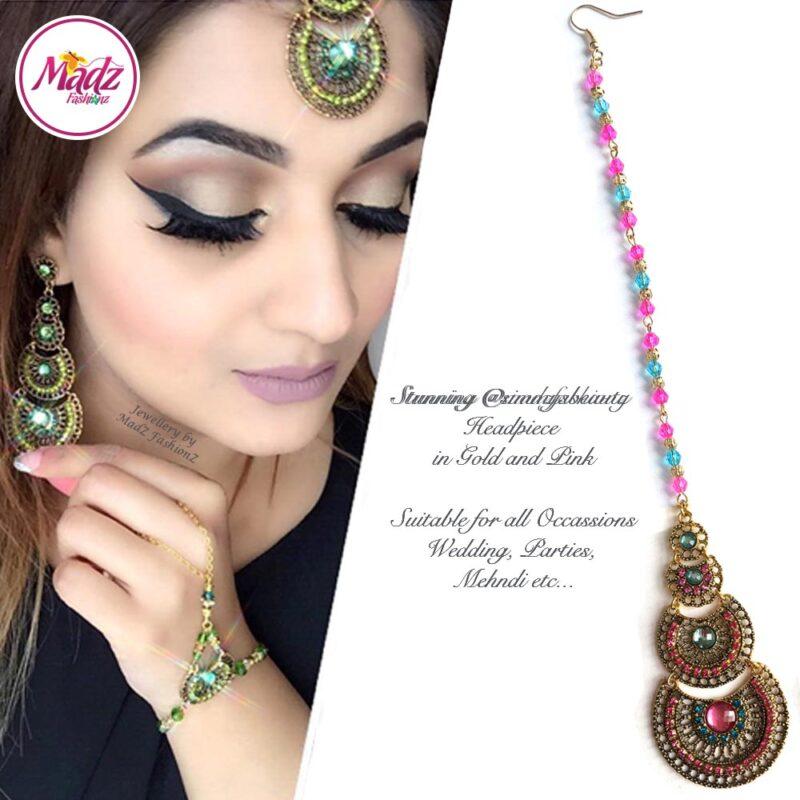 Madz Fashionz USA: @simmysbeauty Maang Tikka, Headpiece Pink Blue Stones