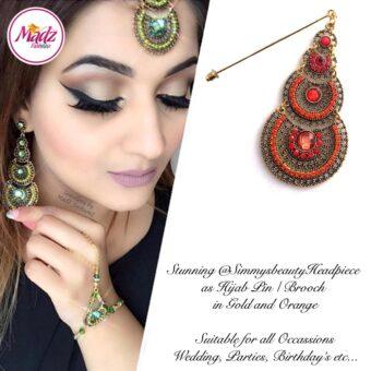 Madz Fashionz USA: @simmysbeauty Hijab Pin, Hijab Jewels Stick Pin Orange Stones