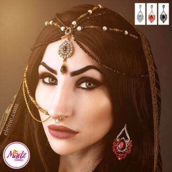 Madz Fashionz USA: Eleine Exquisite Gold Nawab Bridal Stud Earrings Asain Jewel