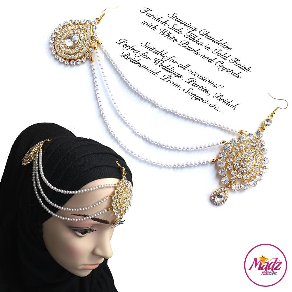 Madz Fashionz USA: Farida Gold White Bridal Side Tikka Headpiece