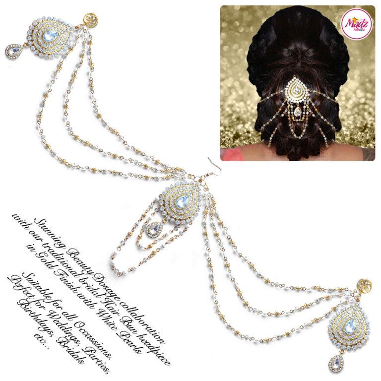 Madz Fashionz USA: Beautydosage Bridal Hair Bun Headpiece Jodha Gold 2