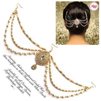 Madz Fashionz USA: Mehrani Bridal Hair Bun Headpiece Jodha Gold Juda White Joora 1