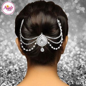 Madz Fashionz USA: Mehrani Bridal Hair Bun Headpiece Jodha Silver Juda White Joora 1