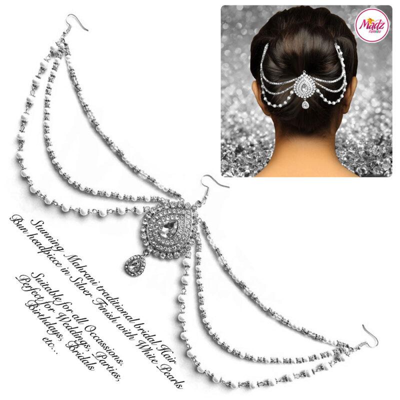 Madz Fashionz USA: Mehrani Bridal Hair Bun Headpiece Jodha Silver Juda White Joora 2