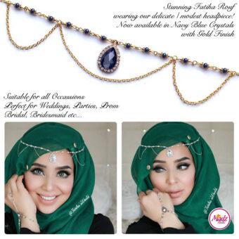 Madz Fashionz USA - Fatihasworld Tear Drop Matha Patti Headpiece Gold and Navy Blue