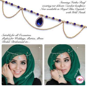 Madz Fashionz USA - Fatihasworld Tear Drop Matha Patti Headpiece Gold and Royal Blue